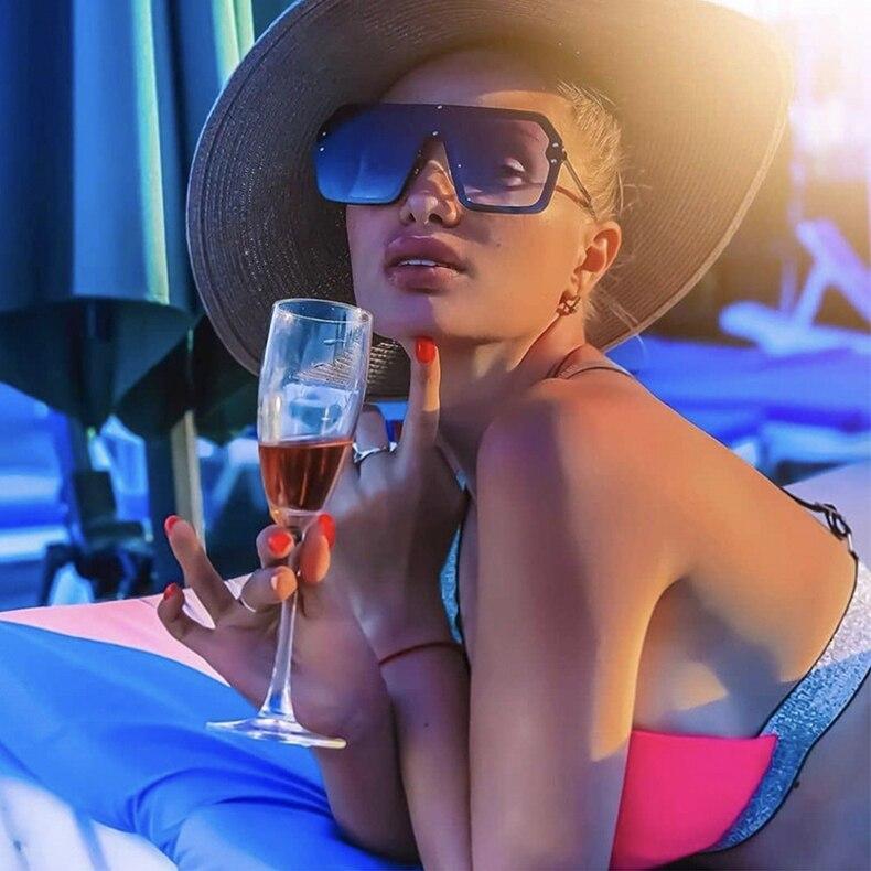Luxury Brand Women's Sunglasses 2021 Trend One-Piece Lens Rimless Sunglass Female Designer Retro Sun Glasses For Women Gradient (3)