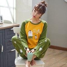 Cartoon women's Pajamas Set Long Sleeve Sleepwear Womens Button Down Nightwear Soft Pj Loun