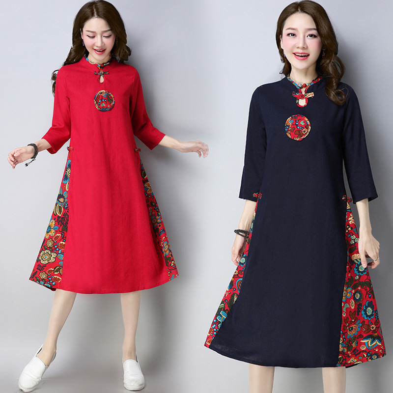 2018 Spring And Autumn New Style Ethnic-Style WOMEN'S Dress Cotton Linen Frog Mixed Colors Three-quarter-length Sleeve Casual Dr