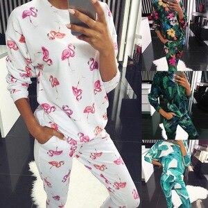 SHUJIN fashion o neck pajama set women long sleeve Animal Cartoon Sleepwear Women's pyjamas Sets Home Clothes Pyjama Femme