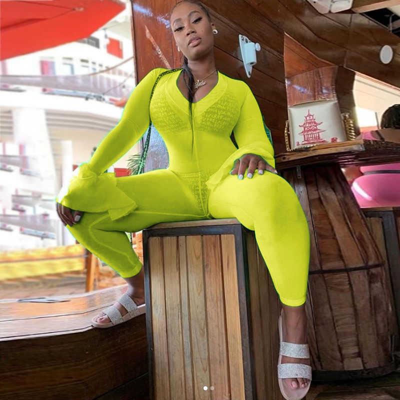 Adogirl флуоресцентный зеленый женский сексуальный бандаж комбинезон с v-образным вырезом с длинными расклешенными рукавами Облегающий комбинезон для ночного клуба тонкие комбинезоны