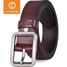 Luxe riem riemen fronten gesp man lederen band voor jean hoge kwaliteit breed bruin mode JTC012