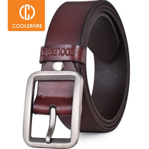 Image 1 - Luxury belt mens belts pronged buckle mans genuine leather strap for jean high quality wide brown color fashion JTC012
