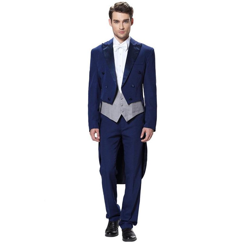 High-quality classic men's suit blue lapel single-breasted men's tuxedo gown and groom dresses (jacket + pants + vest) custom
