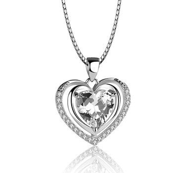 Handmade Rhinestone Pendant Cubic Zirconia Sterling Silver Heart Crystal Necklace  4
