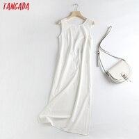 Tangada Women White Backless Midi Dress Sleeveless 2021 Fashion Lady Elegant Dresses 6D52 1
