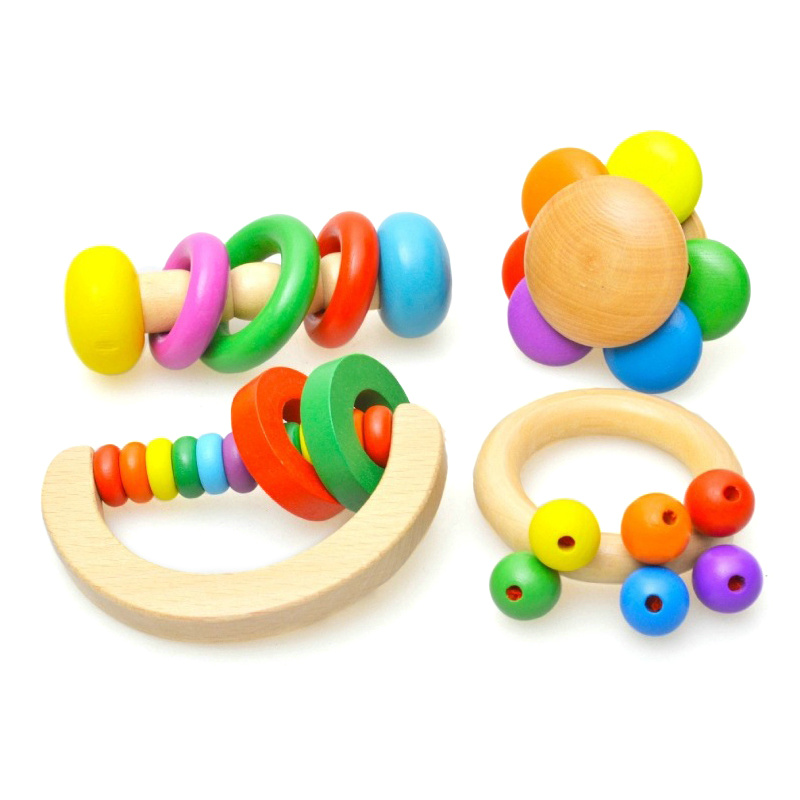 Colorful Wooden Bell Rattle Toy Hand Bells Baby Kids Music Educational Toys Noisy Musical Instruments Rattles WJ485