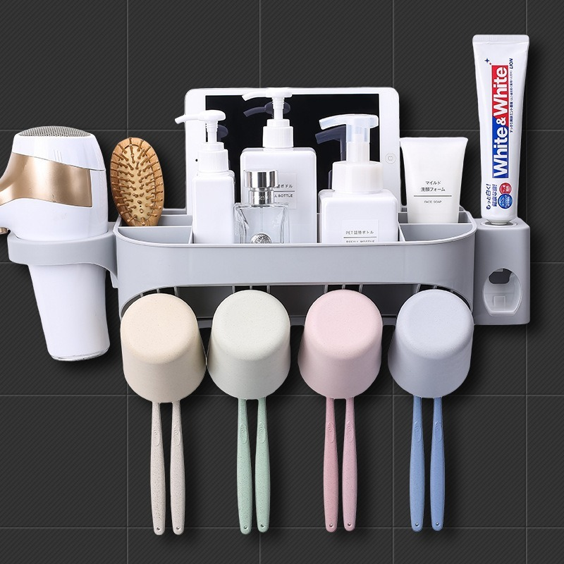 Bathroom wall-mounted punch-free toothbrush holder wash basin shelf set automatic toothpaste