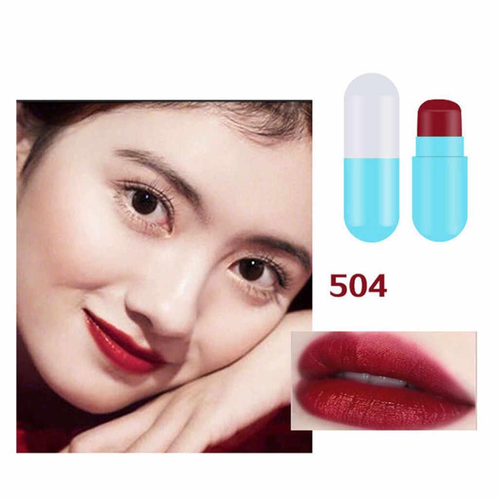 Lipstik Kapsul Tahan Air Tahan Lama Wanita Hadiah Nude Matte Lip Stick Kit Beludru Lembut Kosmetik Seksi Merah Lipstik Cokelat