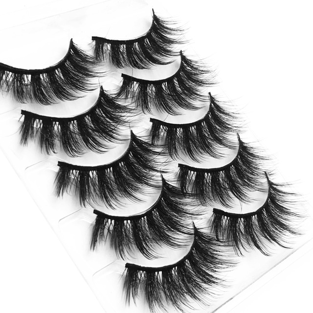 High quality 5 pairs 3d mink eyelashes wholesale fluffy eyelashes mink eyelash natural false eyelashes extensions 2