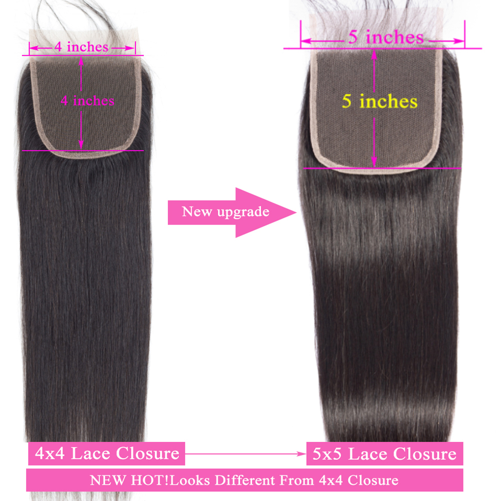 Straight Hair Kim K Lace Closure Middle Part Pre Plucked 5x5 Closure With Baby Hair  Swiss Can Bleached 3