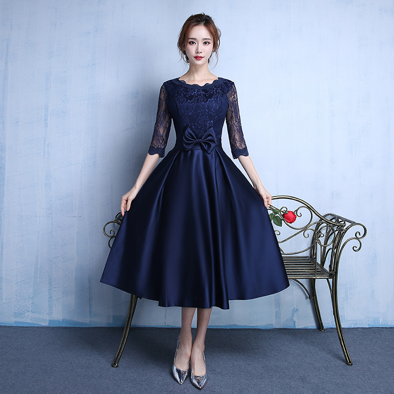 Backlakegirls Sexy Short   Cocktail     Dresses   Bridal Banquet Navy Blue Stain Party Formal   Dress   Homecoming   Dress   Robe De Soiree