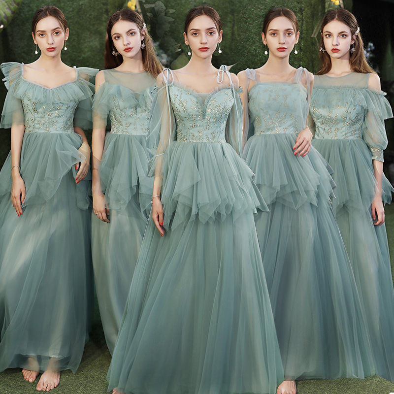 Elegant Green Bridesmaid Dress 2020 Tulle Lace Up Long Formal Wedding Party Homecoming Prom Dresses Robe De Soiree