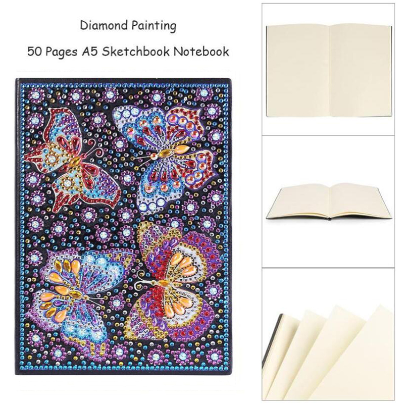 Diamond Painting Notebooks Mandala Notebook DIY Butterfly Special Shaped Diamond Painting 50 Pages Sketchbook Notebook