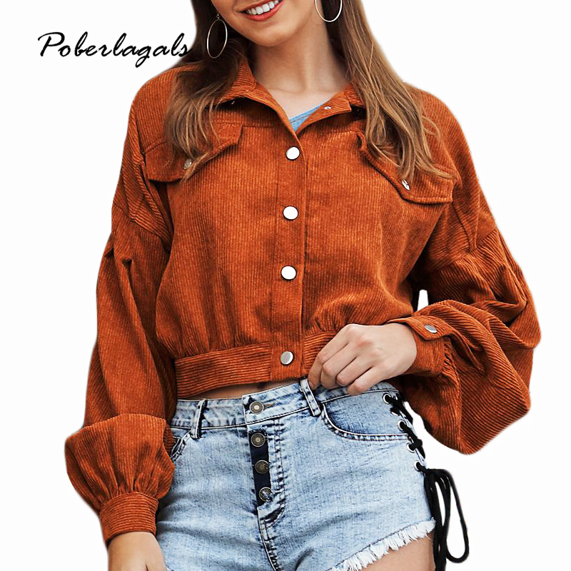 Autumn Winter   jacket   Women 2019 outwear & coats female Corduroy stitching versatile short casual   basic     jackets   Womens coats