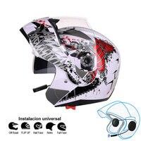 Motocicleta capacete do bluetooth flip up motocicleta kask bt casco moto duplo viseiras casque motor da bicicleta ece jiekai
