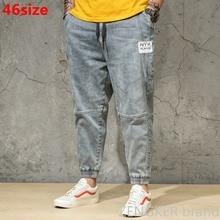 Spring and Autumn  Light Color Jeans Tide Mens Large Size Loose Harem Pants Japanese Trends ankle length Pants Bundle Pants 46
