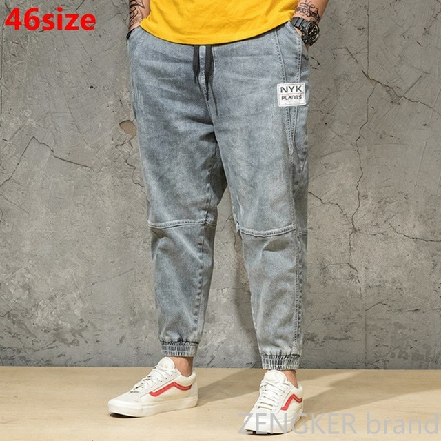 Wiosenny i jesienny kolor światła dżinsy męskie duże rozmiary luźne szarawary japońskie trendy spodnie do kostek spodnie wiązane 46