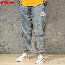 İlkbahar ve sonbahar açık renkli kot gelgit erkek büyük boy gevşek Harem pantolon japon trendleri ayak bileği uzunlukta pantolon paketi pantolon 46