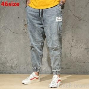 Image 1 - İlkbahar ve sonbahar açık renkli kot gelgit erkek büyük boy gevşek Harem pantolon japon trendleri ayak bileği uzunlukta pantolon paketi pantolon 46