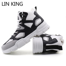 LIN KING Plus Size Mens Winter Ankle Boots Sneakers Warm Keep Lace Up Snow For Male Adult Short Plush Shoes