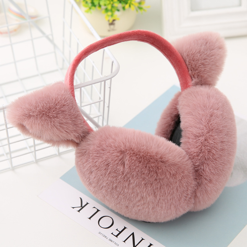 Plush Headphones Cute Girls Faux Rabbit Ear Muffs Design Ear Protection Female Earmuffemale Winter Earmuffs Keep Warm Ear Muff