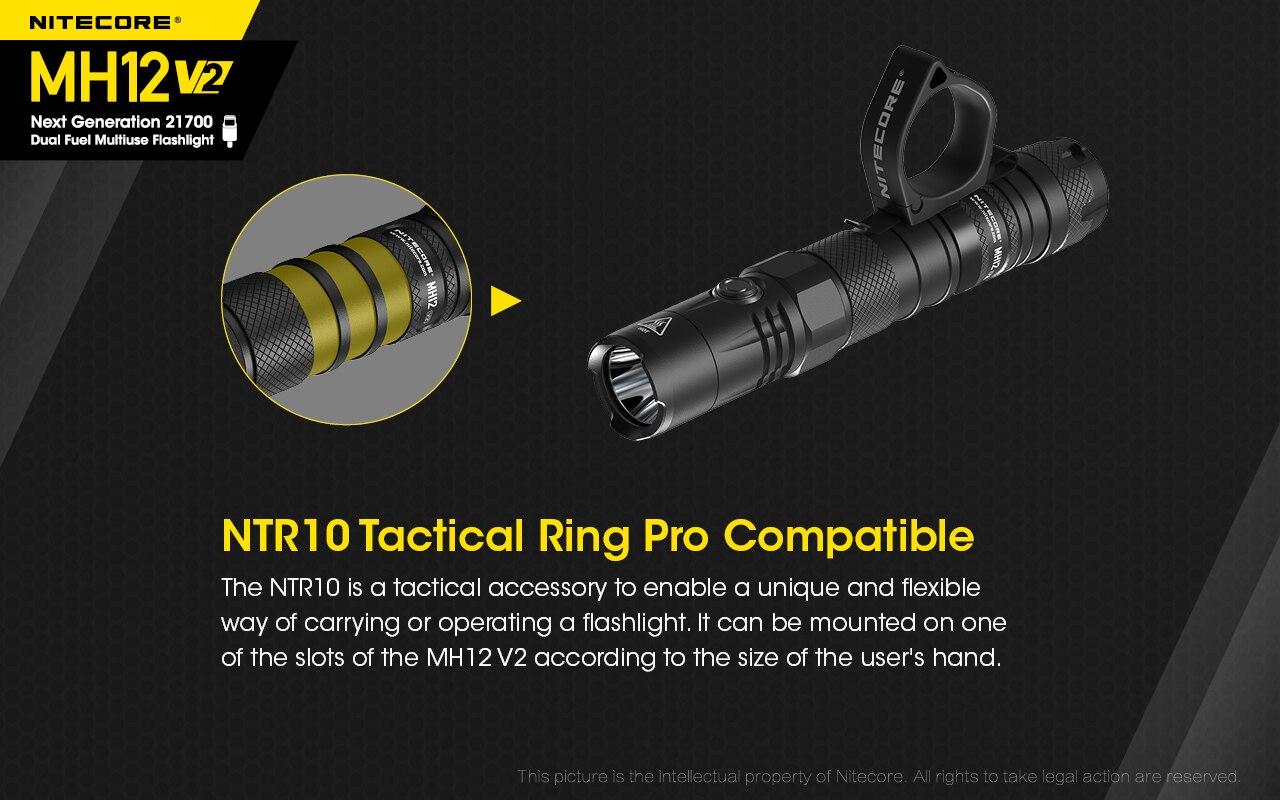 Nitecore mh12v2 lanterna tática recarregável 1200 lumens