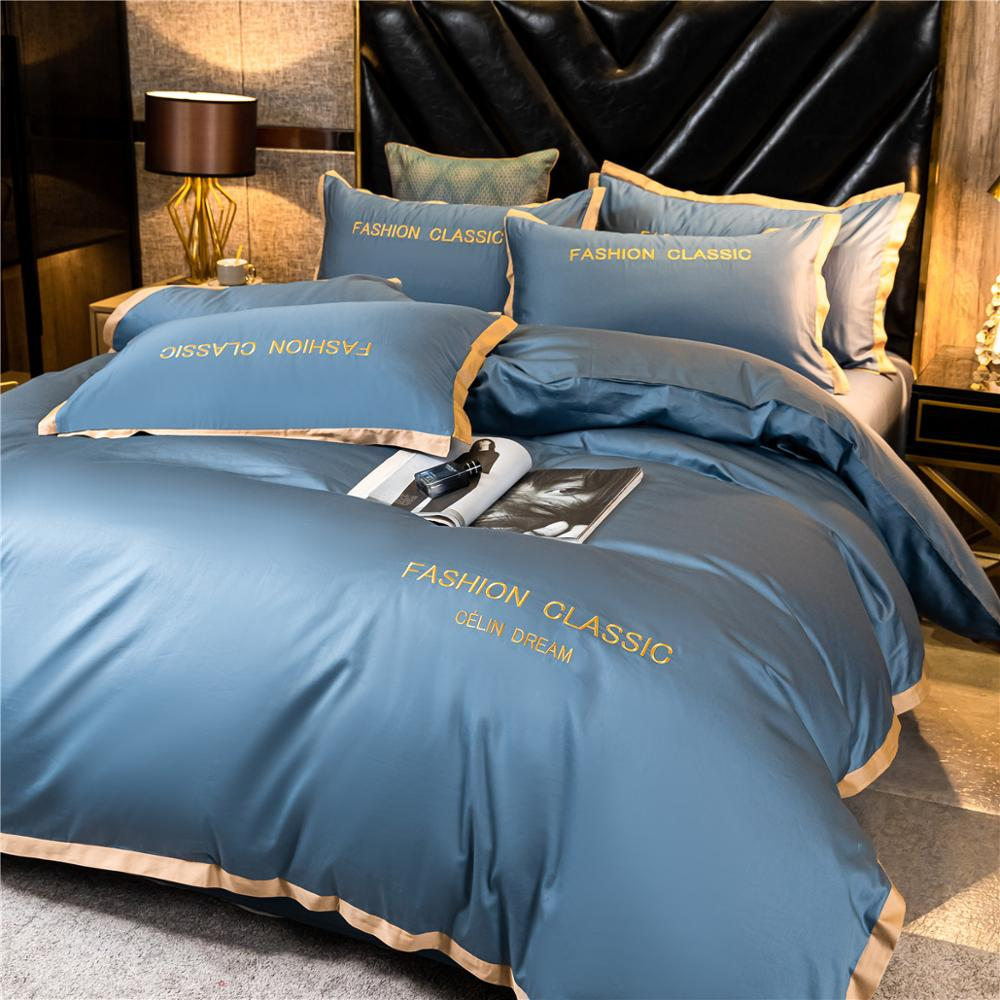 High-end quality Egyptian cotton bedding set embroidered satin light luxury quilt cover duvet cover bed sheet pillowcases 1