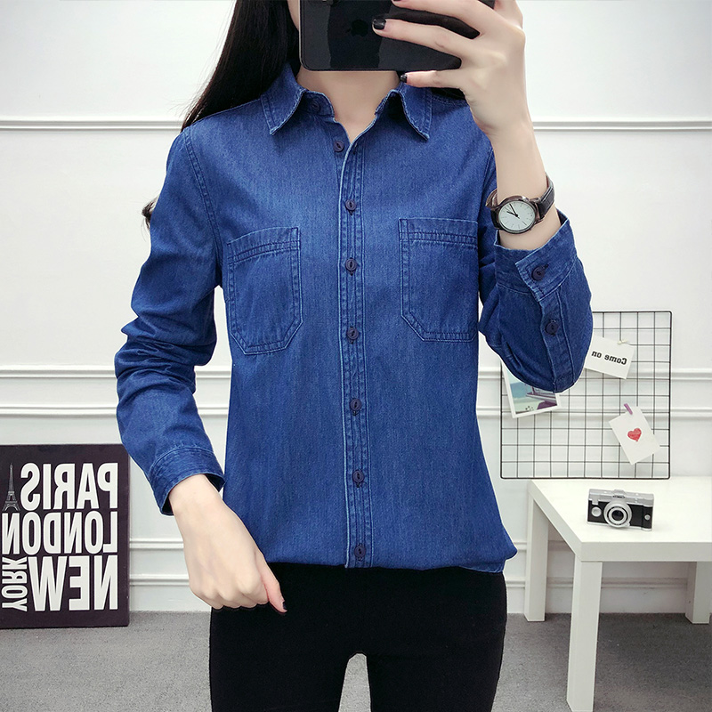 2021 Spring Autumn Denim Women's Shirts Casual Loose Plus Size Tops Mujer Long Sleeve Cotton Jean Shirt Blue Chemise Jeans Femme