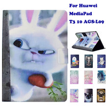 "Fashion Stand Case Kulit Flip Pu untuk Huawei MediaPad T3 10 AGS-L09 9.6 ""Tablet Smart Case Cover Fundas Coque anjing Panda(China)"