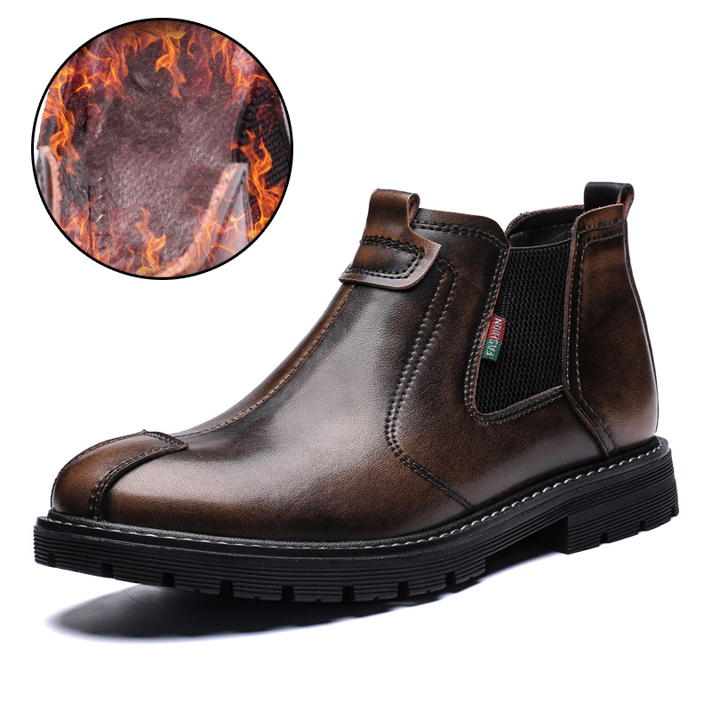 Autumn Winter Genuine Leather Men Boots Footwear Martin Shoes Man Snow Shoes Winter Warm Plush Working Boots Men work boots