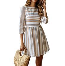 Echoine Mini dress women Fashion versatile printed striped round neck sleeved white female Autumn party casual plus size