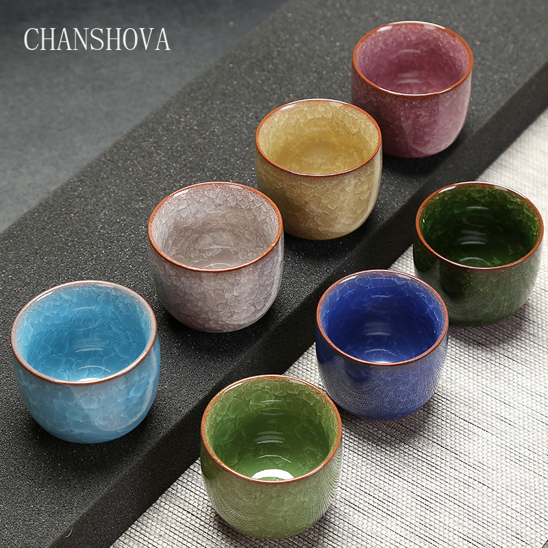 CHANSHOVA Traditional Chinese Crackle Glaze Porcelain Teacup 80ml Home Office Solid Color China Ceramic Tea Cups H202|Teacups| - AliExpress