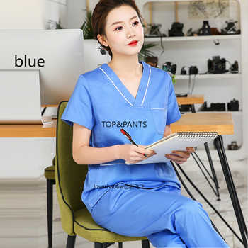 Women Scrub Set Cotton Uniforms Color Blocking Workwear Clothes Vet Dentist Beautician Spa Uniforms V Neck Scrub Top and Pants - DISCOUNT ITEM  40 OFF Novelty & Special Use