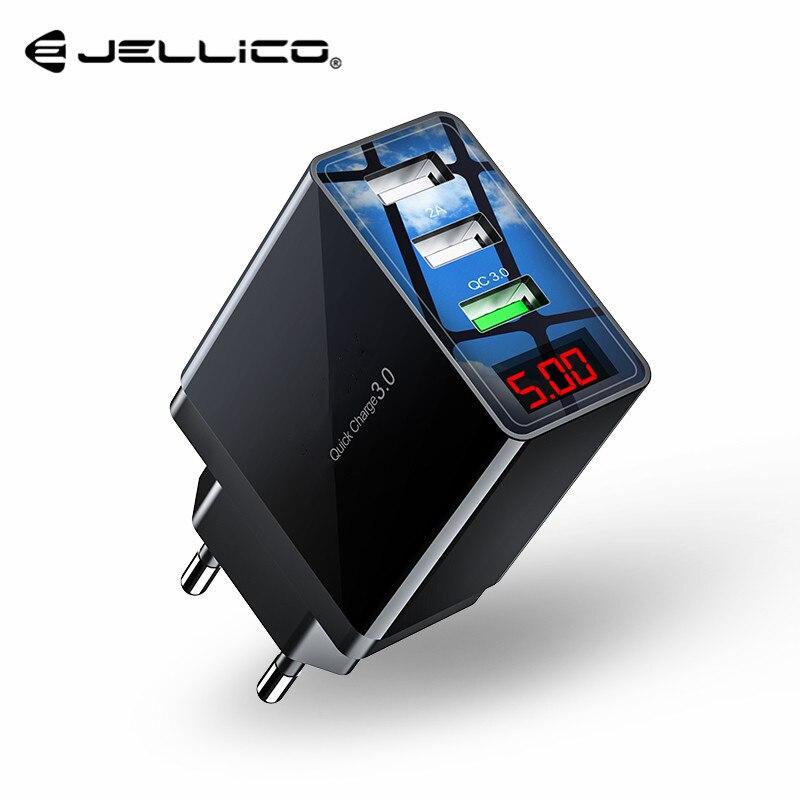 Jellico QC 3.0 3 ports USB chargeur de téléphone affichage de LED prise ue Total Max 3A chargeur rapide intelligent chargeur mural Mobile pour iPhone iPad