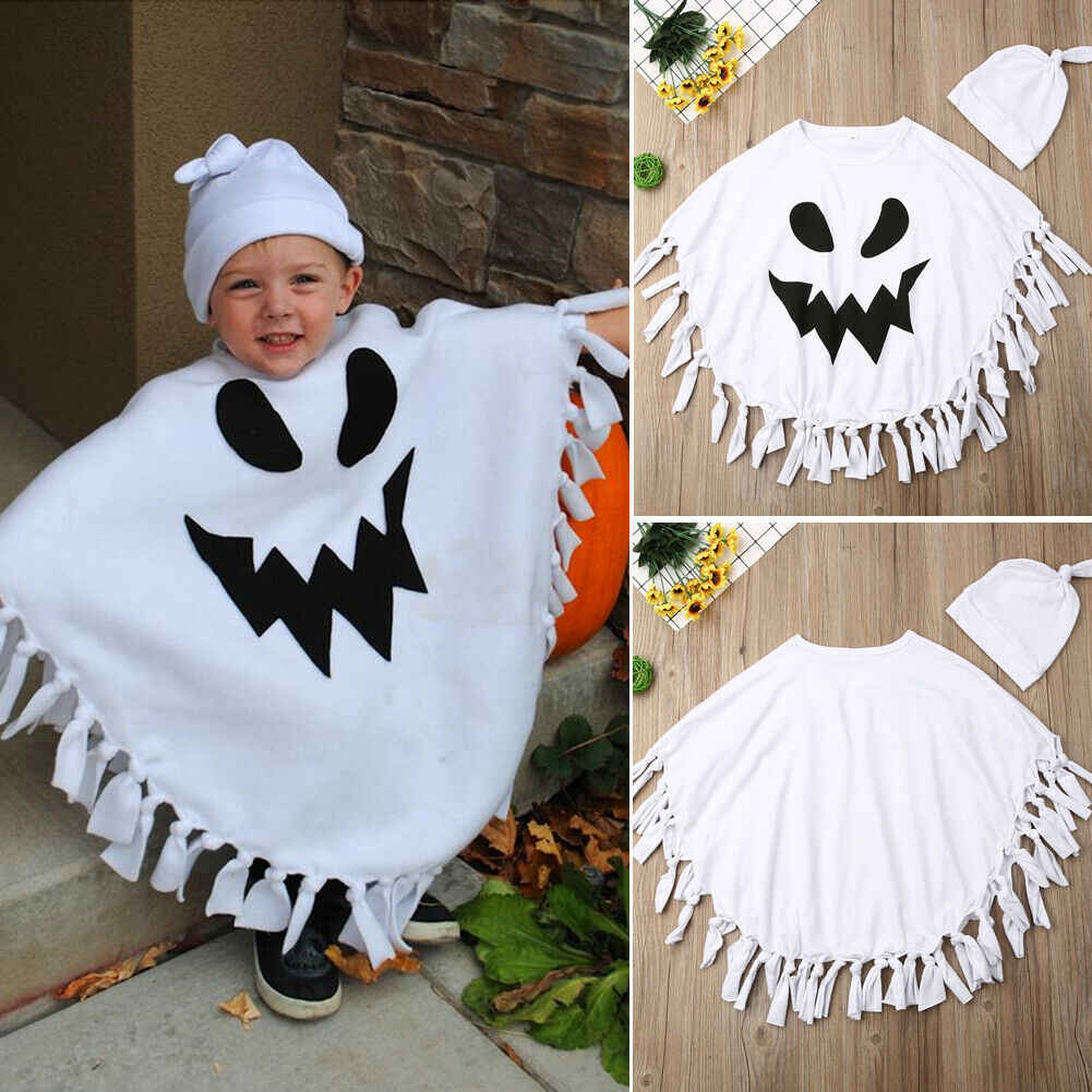 BeQeuewll Toddler Kids Baby Girl Boy Halloween Costume Ghost Hooded Poncho Cloak Cape Hat Blanket Cosplay Clothes