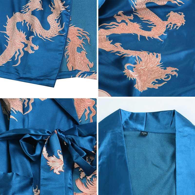 Litthing Mens Robe Maniche Lunghe Accappatoio Kimono di Seta Pigiami di Stampa Accappatoio Notte Spogliatoio