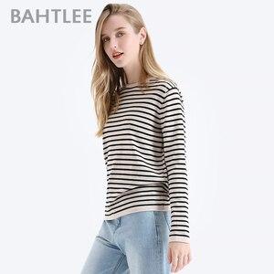 Image 3 - BAHTLEE אביב סתיו נשים סוודרי צמר שחור לבן פסים סוודר סרוג Jumper ארוך שרוולים O צוואר Loose סגנון
