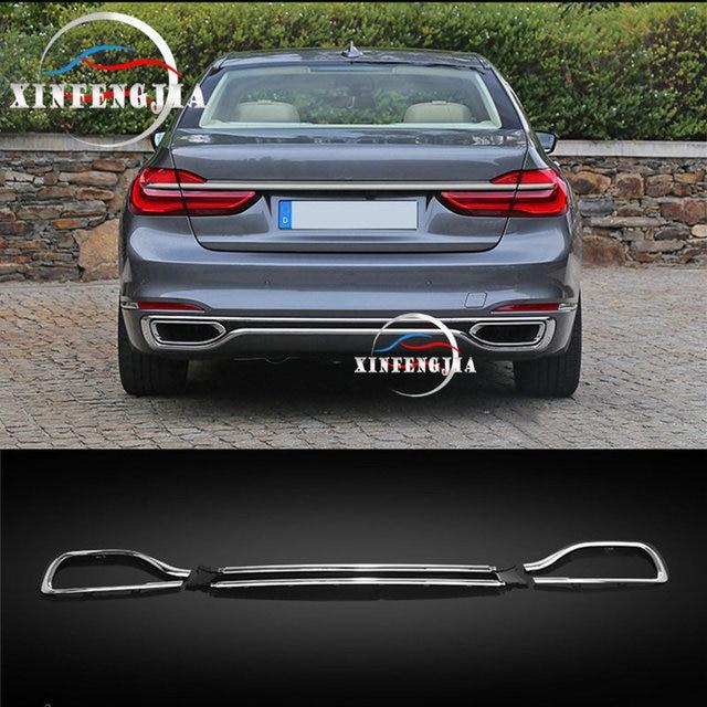 For BMW 7 Series G11 G12 16-19 3x Car Rear Bumper & Rear Cylinder Exhaust Cover Decorate Car Bumper Rear Lip Rear Spoiler Refit