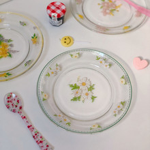 Cutelife-plato de vidrio de Margarita pequeña nórdico, plato Retro Vintage Simple para ensaladas, postres, soporte para aperitivos y pasteles, platos de boda