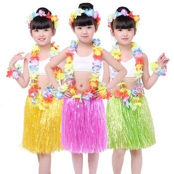 Hawaiian Grass Skirt Flower Hula Lei Garland Fancy Skirt Costume 5 Piece Set