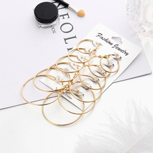 Big round earrings Set Golg silver hoop for women  small