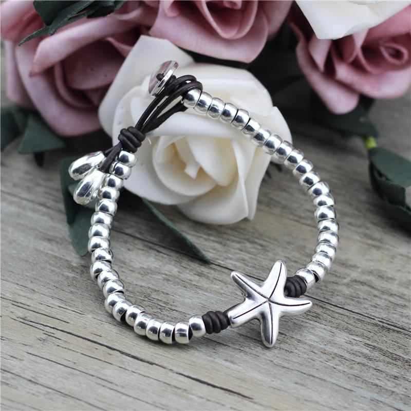Anslow Wholesale Fashion Handmade Wrap Beads Starfish Ocean Beads Women Leather Bracelet Wristband Charms Friendship LOW0827LB