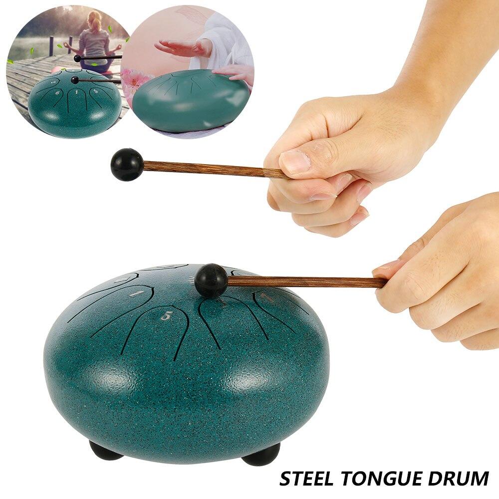 Язык барабан 6-дюймовая мини-Ручная сковорода барабаны с голени ударных музыкальных инструментов Homeschool Развивающие игрушки для детей
