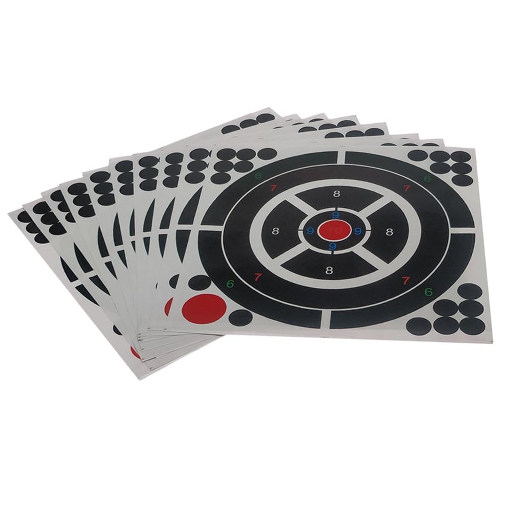 10pcs Shooting Targets Reactive Splatter Adhesive Paper Target 30.5x30.5cm