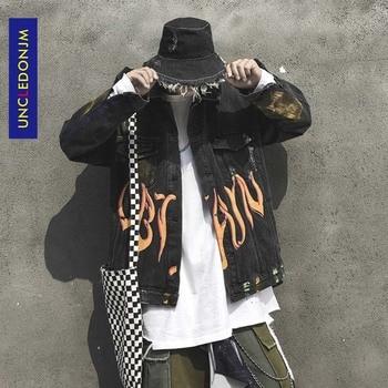 Men's Jean Jackets Streetwear Hip Hop Flame Jacket Denim Jacket Men Brand Ripped Denim Jackets Casual Fashion Coat V2-1993