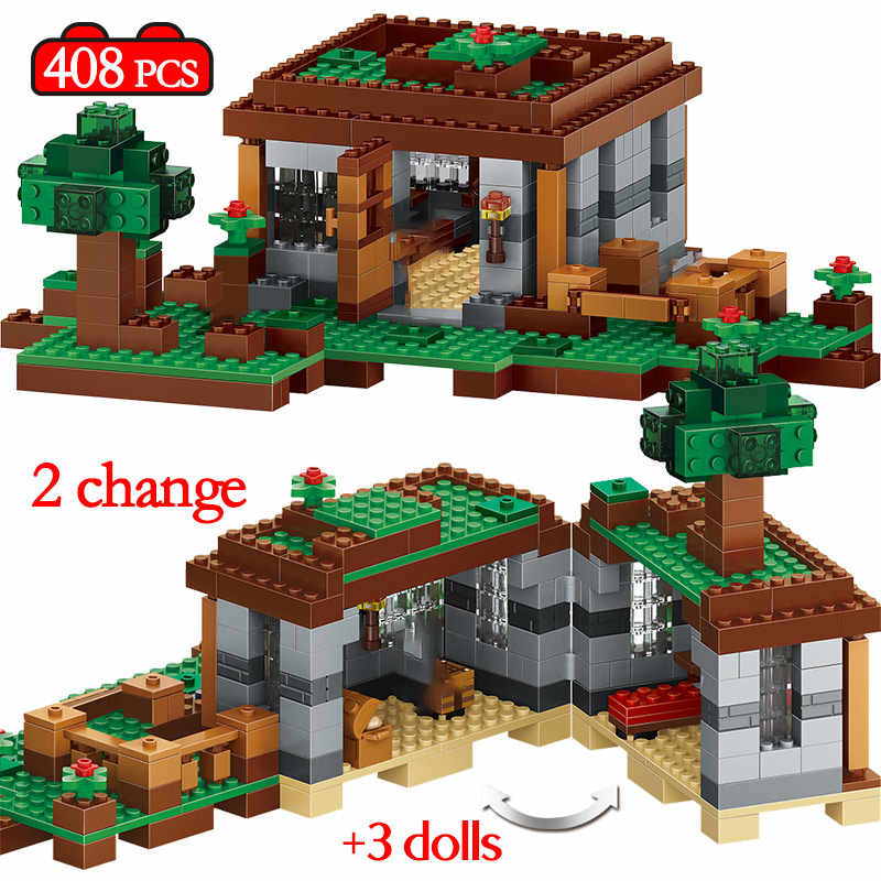 408pcs The First Night Adventure Shelter Model Building Blocks LegoINGly My World Village Eductional Bricks Toys for Children