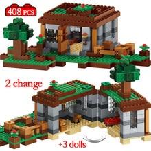408 個最初の夜冒険避難所モデルビルディングブロック村 eductional レンガのおもちゃ