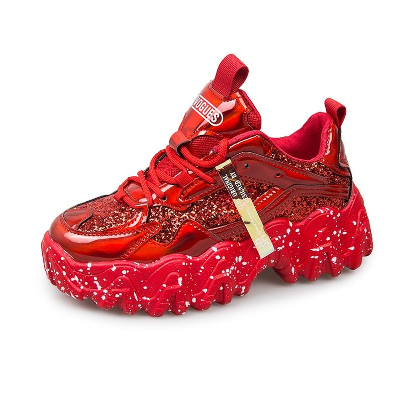 2020 Popular Women Glitter Chunky Sneaker Sequins Graffiti Big Wave Sole Women Platform Walking Shoe Bling Style For Girl Street