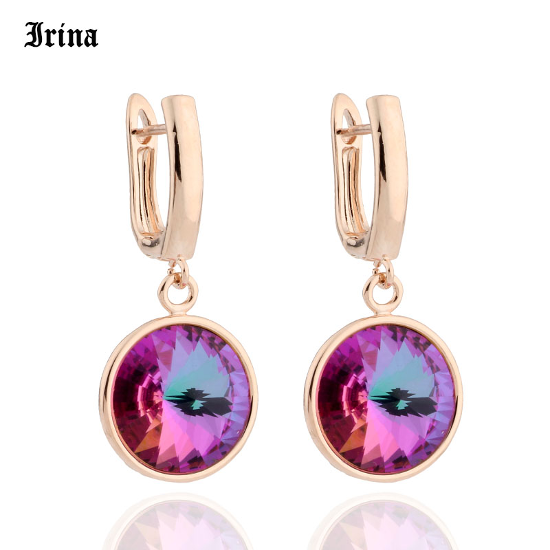 High Quality Classic 12 Color Round Crystal Drop Earrings 585 Rose Gold Color Colorful Korean Earrings for Women Wedding Jewelry